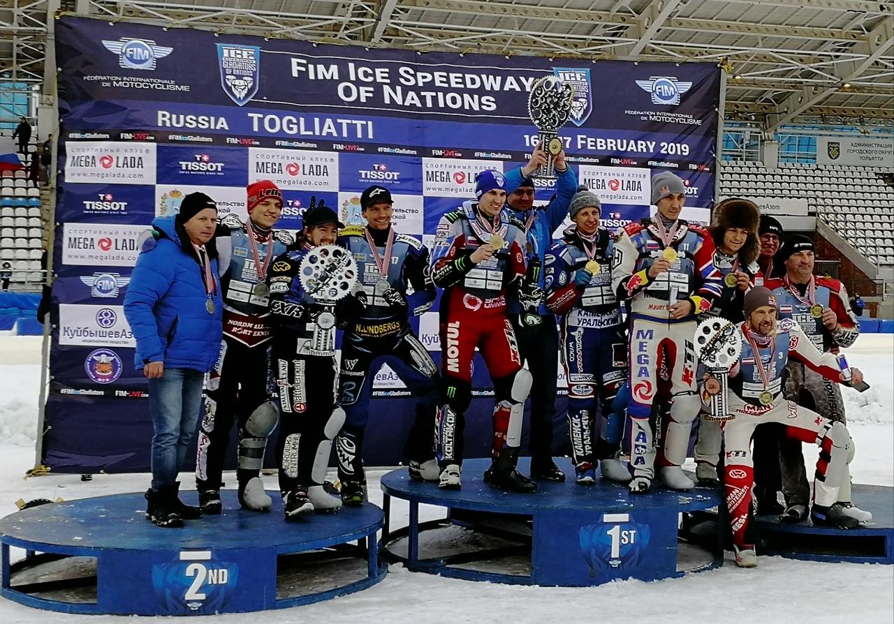 В Тольятти сборная России выиграла командный чемпионат мира по мотогонкам на льду!