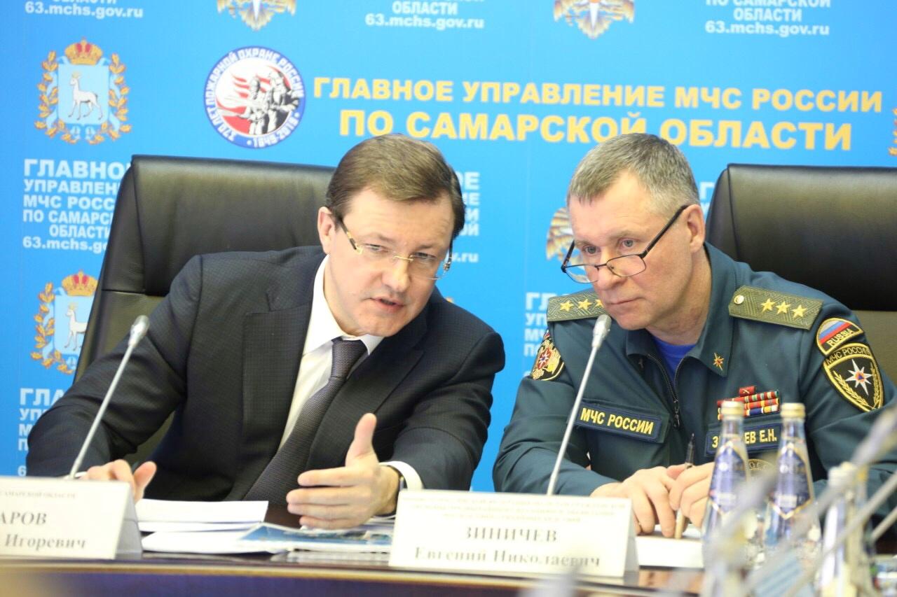 Министр МЧС Евгений Зиничев и губернатор Дмитрий Азаров провели совещание