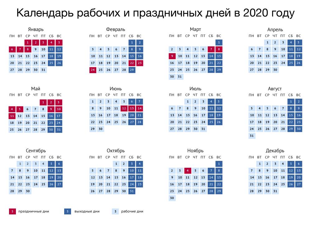 Утвержден календарь выходных дней в 2020 году