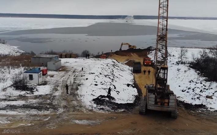 Опубликовано новое видео с места строительства моста в Самарской области