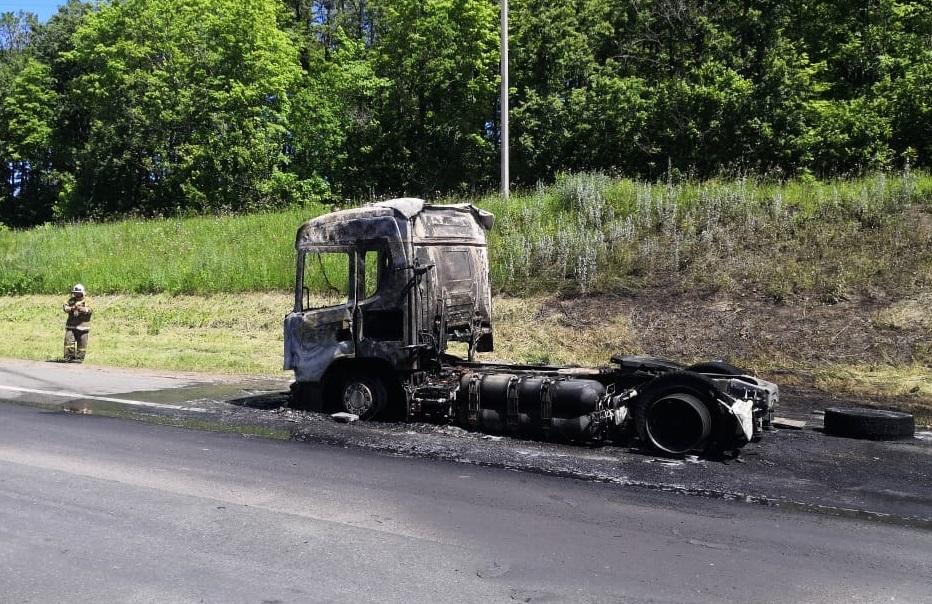 На трассе М-5 в Самарской области сгорел грузовик