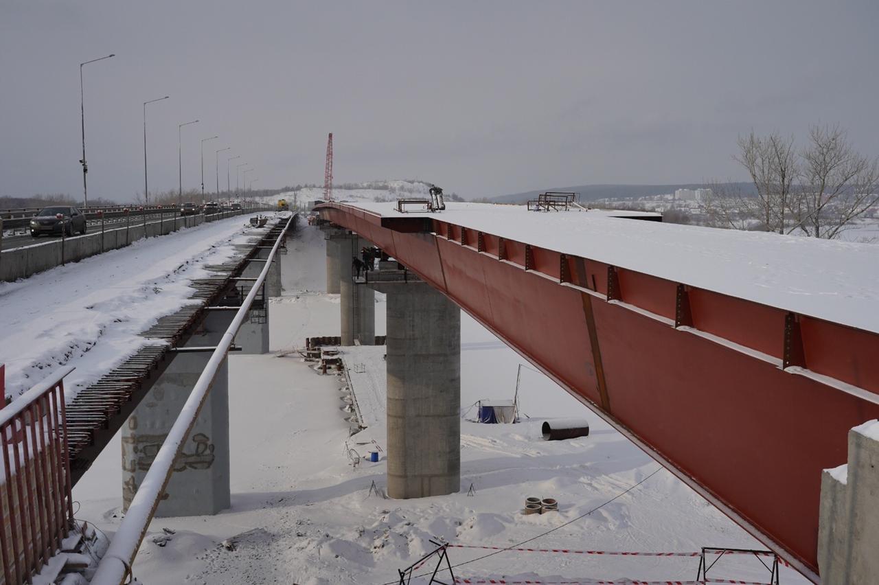 Завершена надвижка пролетного строения моста через реку Сок в Самарской области